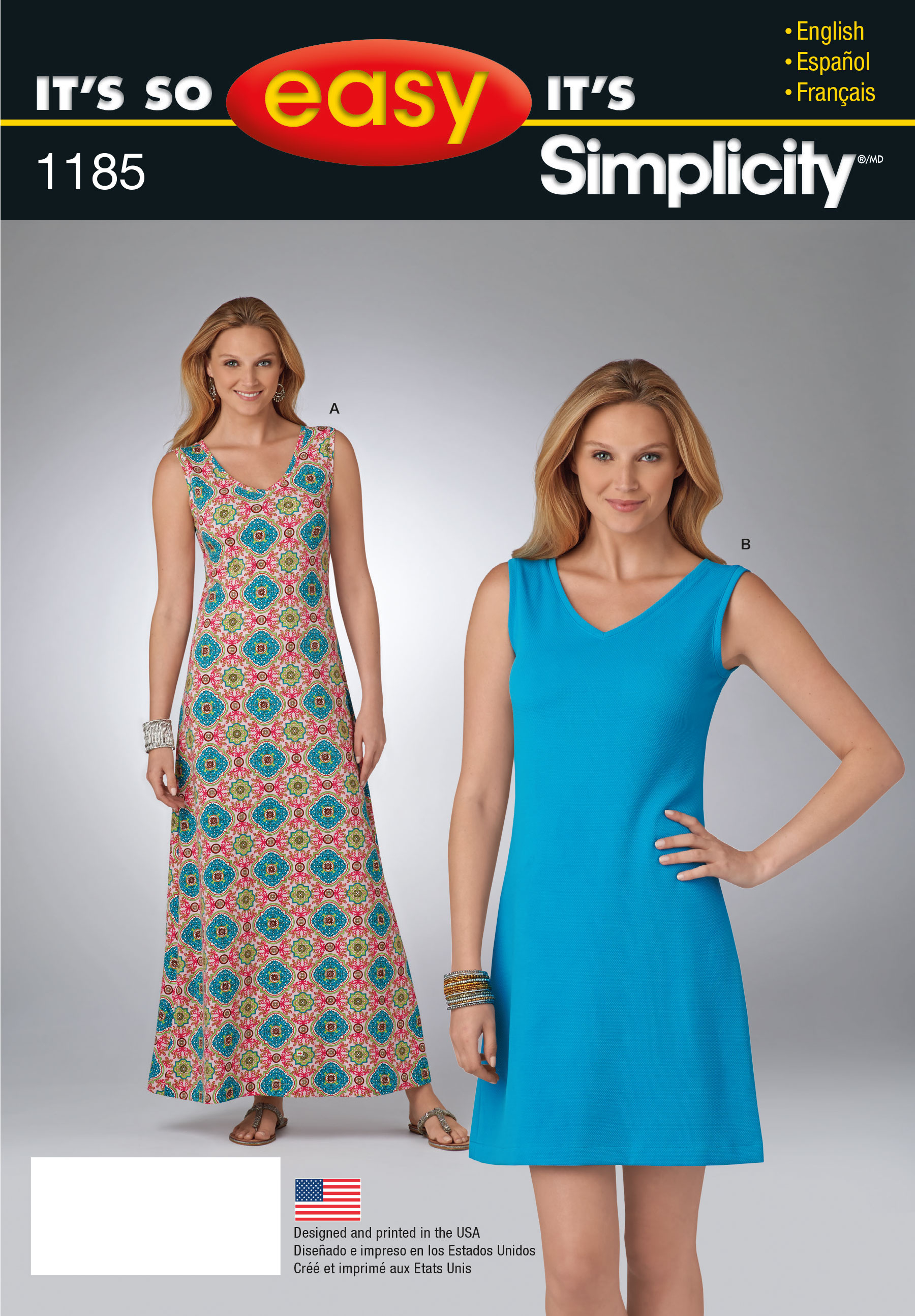 Easy Sewing Patterns Simplicity 1185 Its So Easy Dress In Two Lengths