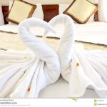 Origami Decoration Bedroom Origami Swan Towels Bed Decoration Stock Photo Image Of Flower
