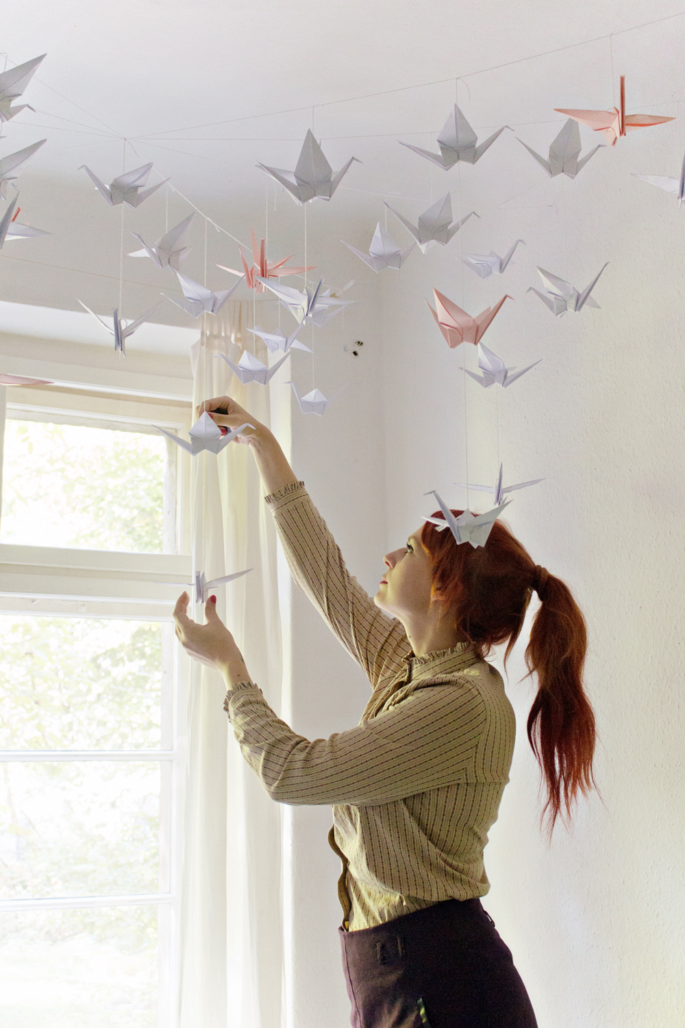 Origami Decoration Diy Diy Renters Friendly Origami Ceiling Decoration