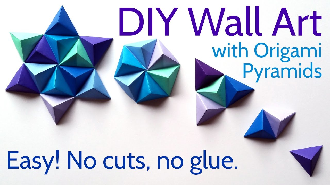 Origami Ideas Decoration Wall Art Diy Paper Wall Art With Origami Pyramid Pixels Easy Tutorial And
