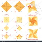 Paper Origami Step By Step Instructions How Make Paper Bird Origami Stock Illustration