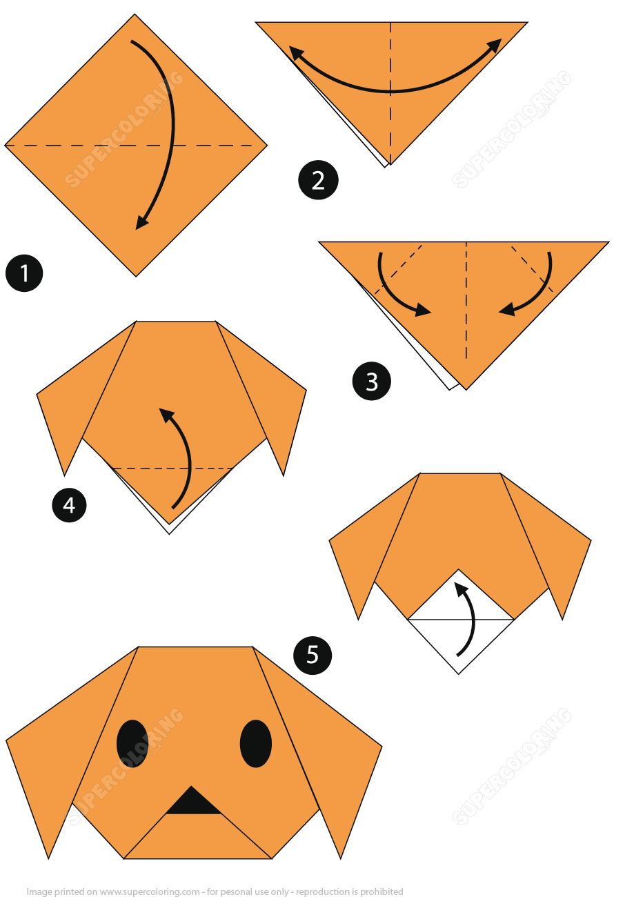 Paper Origami Step By Step Origami Step Step Instructions Of A Dog Face Super Coloring