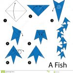 Paper Origami Step By Step Step Step Instructions How To Make Origami Fish Stock Vector
