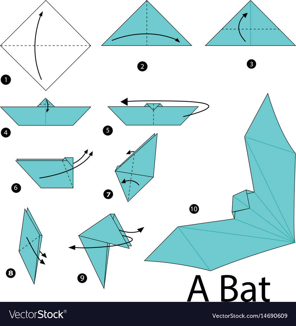 Paper Origami Step By Step Step Step Instructions How To Make Origami Vector Image