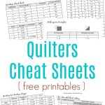 Sewing Printables Cheat Sheets Quilting Cheat Sheets Free Printable Pack Sewing Projects