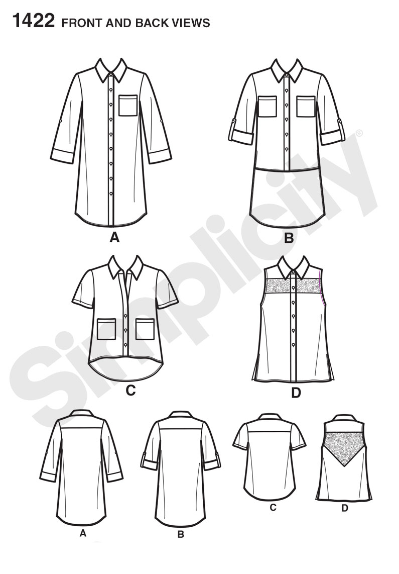 Sewing Tshirt Pattern Simplicity 1422 Misses Button Up Mini Dress Or Shirt With Variations