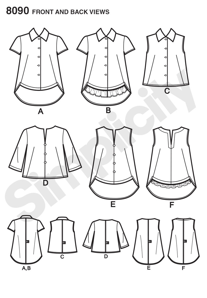 Sewing Tshirt Pattern Simplicity 8090 Misses Easy To Sew Button Shirt And Pullover Top