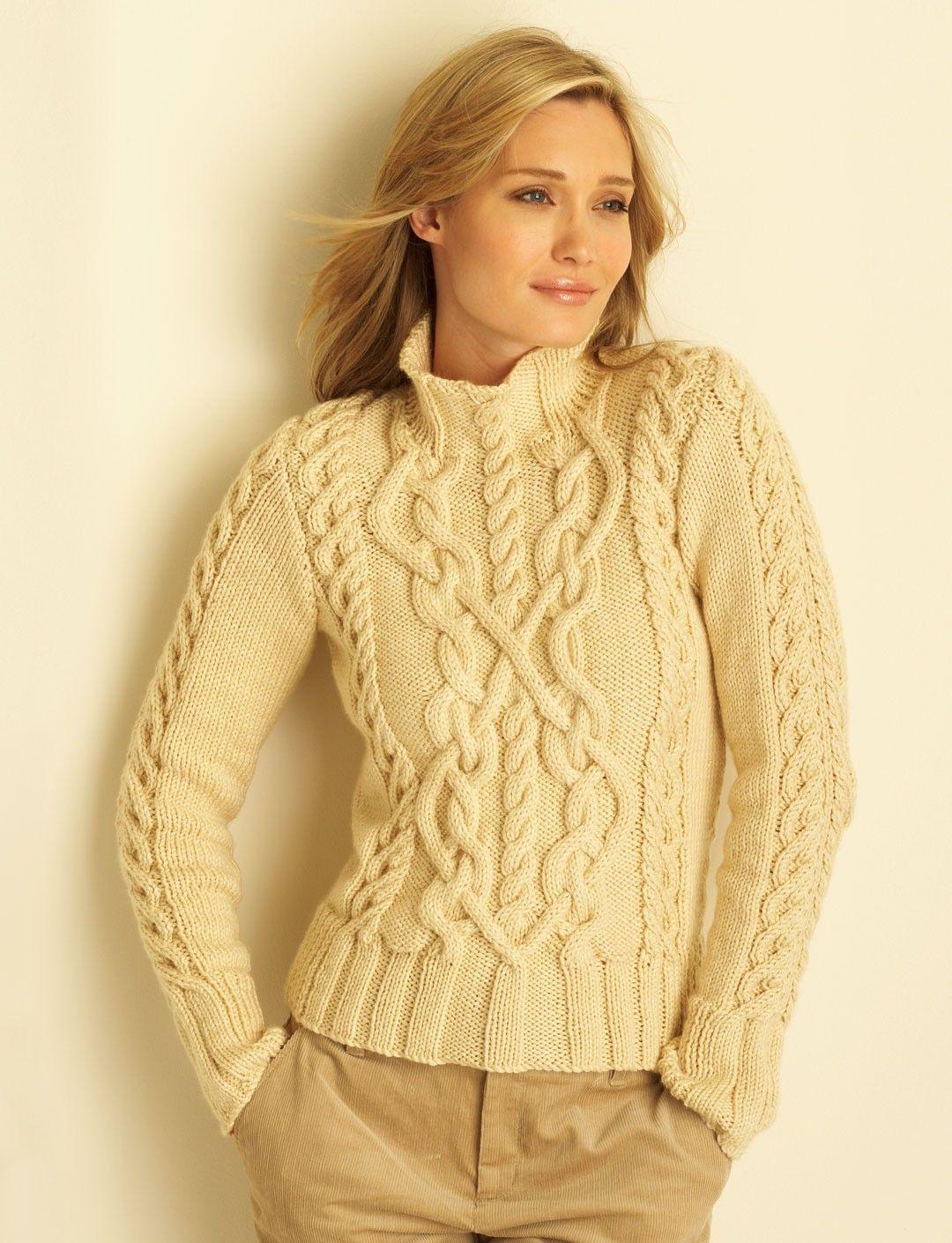 Aran Knitting Patterns Free Yarnspirations Bernat Cable Sweater Patterns