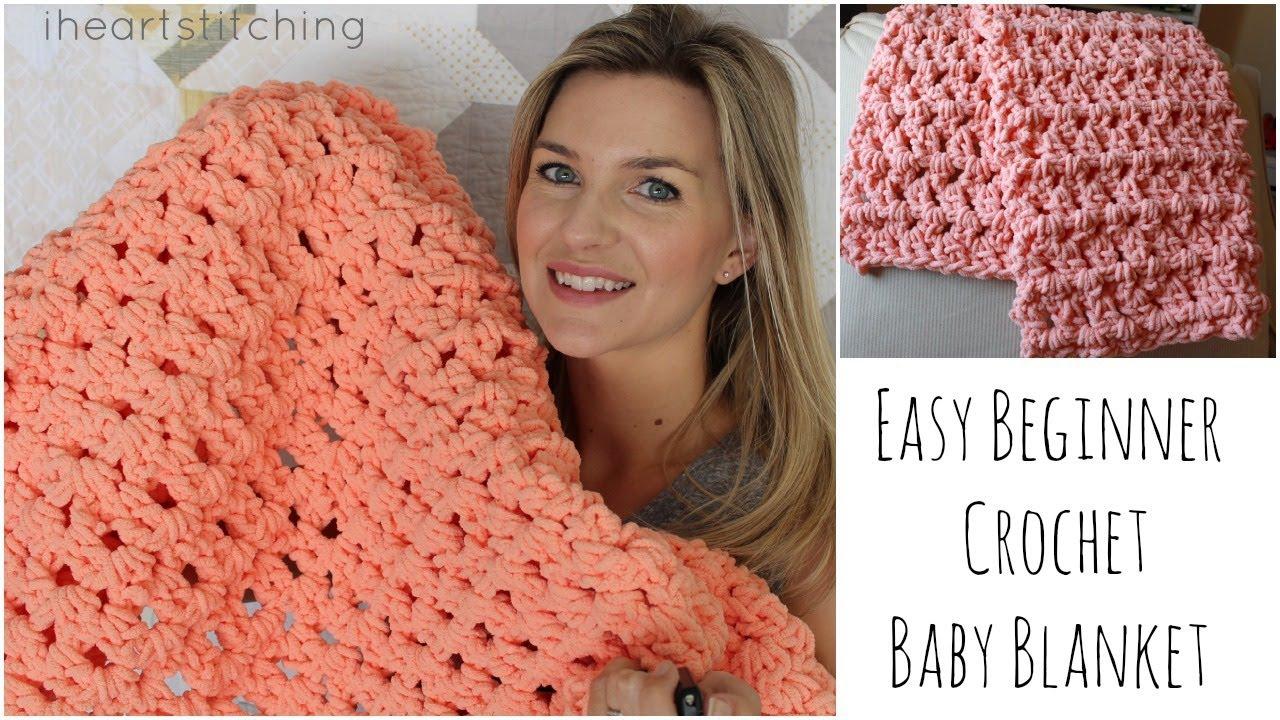 Begginer Crochet Projects Baby Blankets Easy Beginner Crochet Ba Blanket Tutorial Youtube