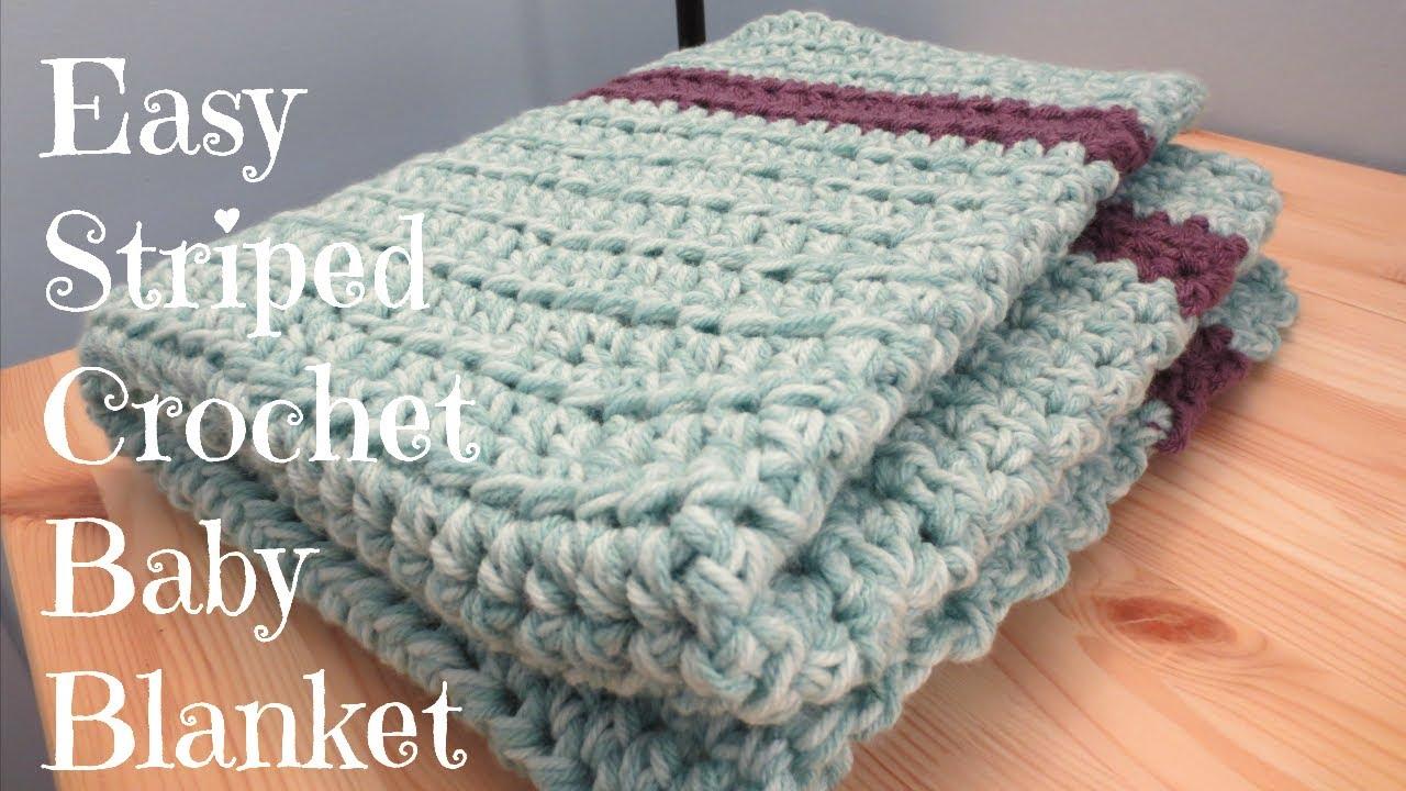 Begginer Crochet Projects Baby Blankets Easy Striped Crochet Ba Blanket Youtube