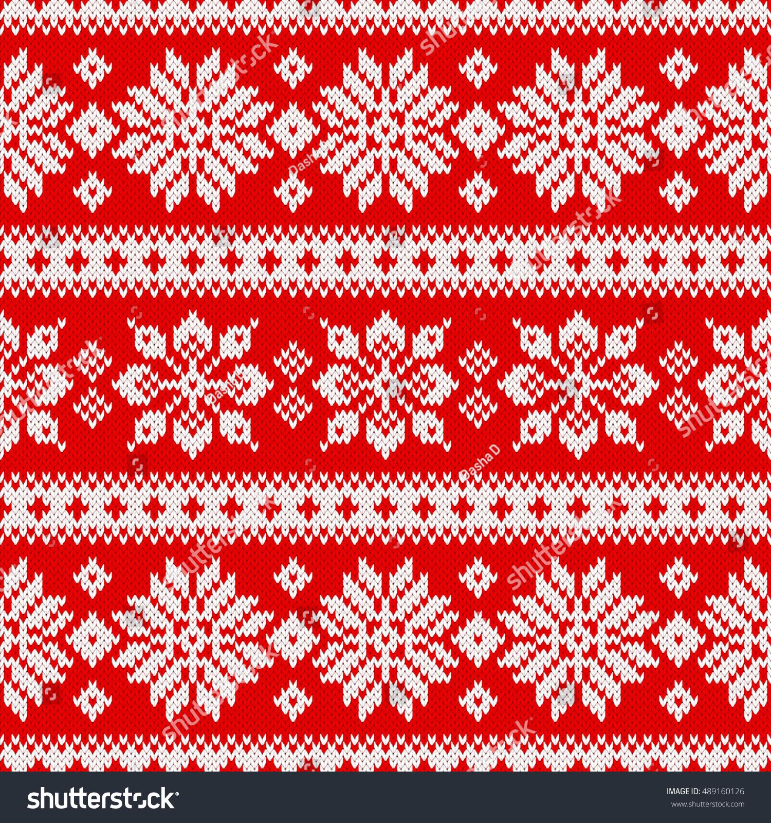 Christmas Knitting Patterns Seamless Knitting Pattern Snowflakes Scandinavian Style Stock