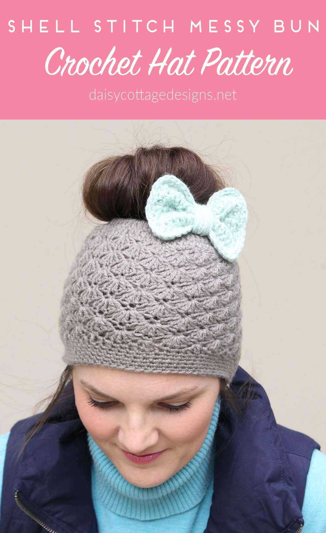 Crochet Alligator Hat Shell Stitch Messy Bun Crochet Hat Pattern Daisy Cottage Designs