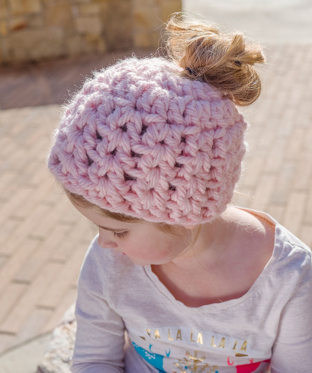 Crochet And Knitting Patterns Messy Bun Hat Pattern Collection Red Heart