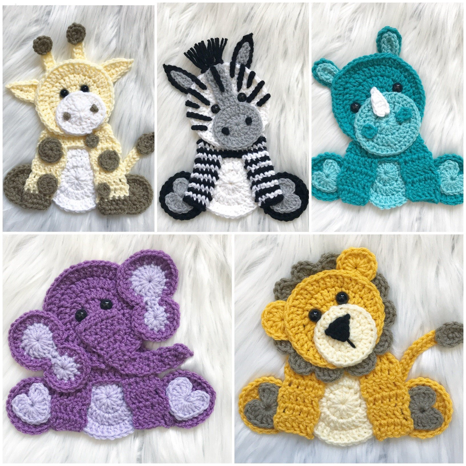 Crochet Applique Patterns Free Animal Crochet Pattern Instant Pdf Download Zoo Animals Crochet Zoo