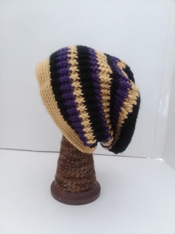 Crochet Beanies For Men Black Gold Purple Crochet Beanie Hat Crochet Beanie Hat Men Etsy
