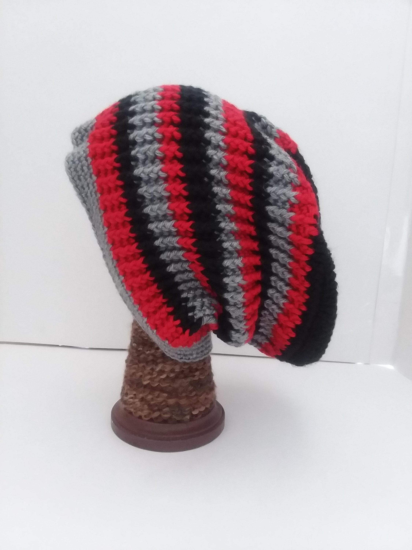 Crochet Beanies For Men Black Red And Gray Crochet Beanie Hat Crochet Beanie Hat Men Etsy