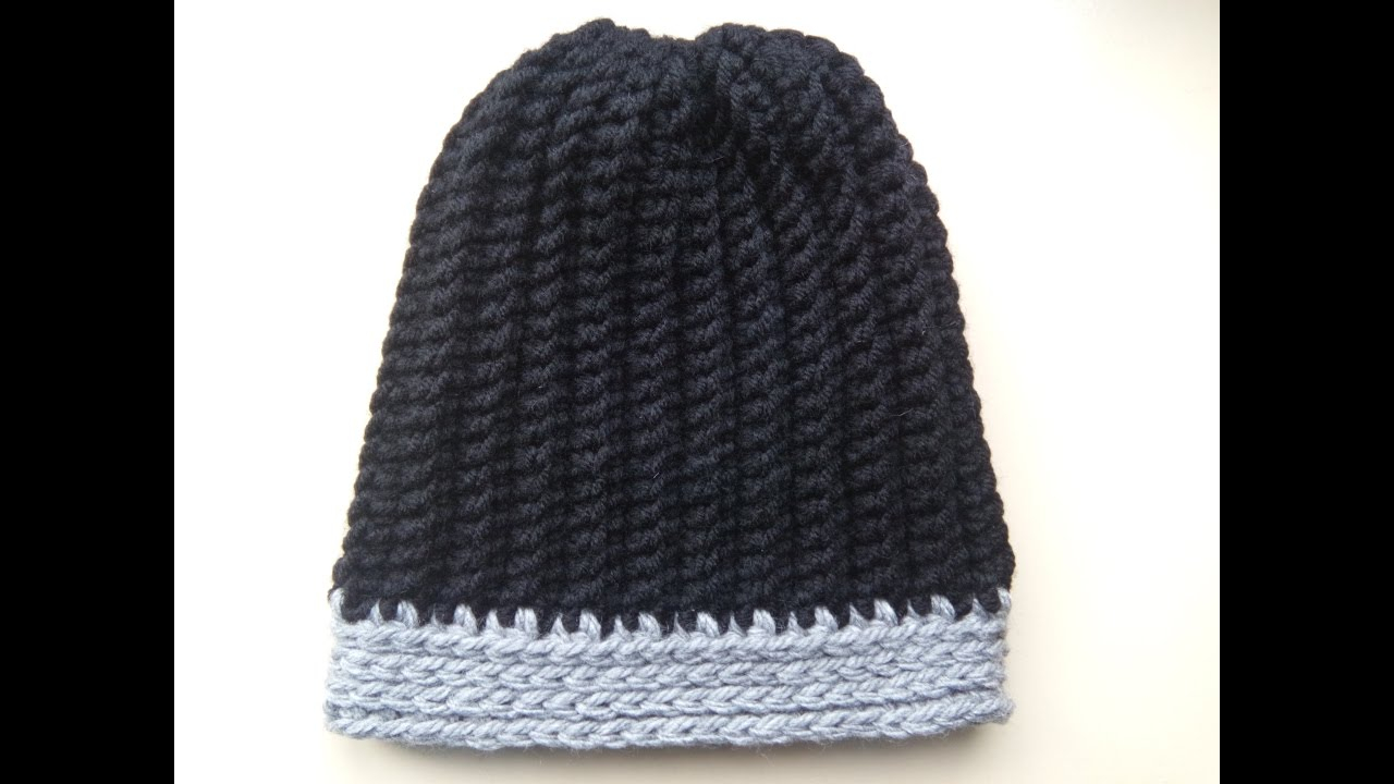 Crochet Beanies For Men Crochet Mens Ribbed Hat Youtube