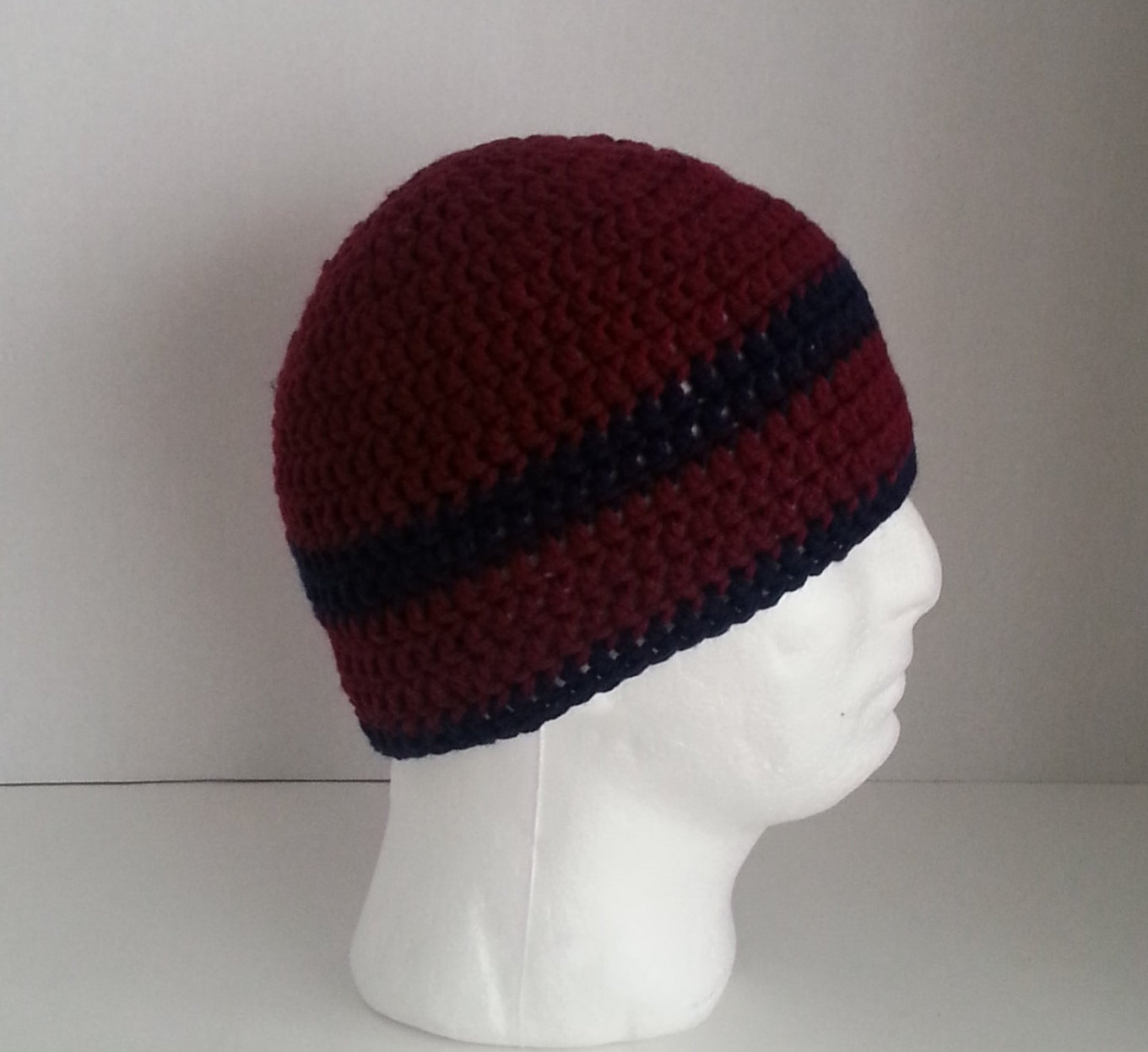 Crochet Beanies For Men Mens Crochet Beanie Mens Crochet Hat Two Toned Maroon Etsy