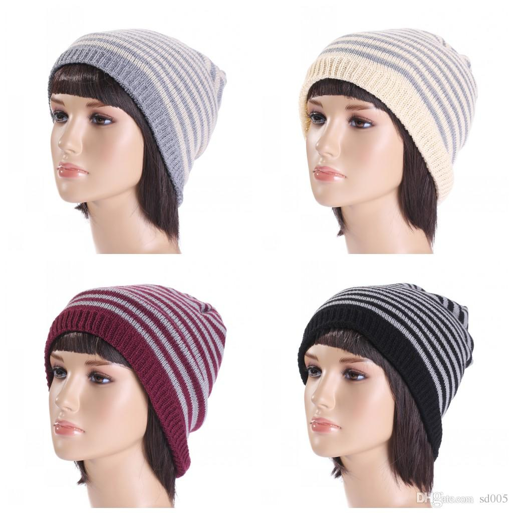Crochet Beanies For Men Outdoor Crochet Beanies For Men And Women Skull Caps Double Colors