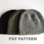 Crochet Beanies For Men Pattern Mens Easy Hat Crochet Beanie Seamless Simple Basic Classic