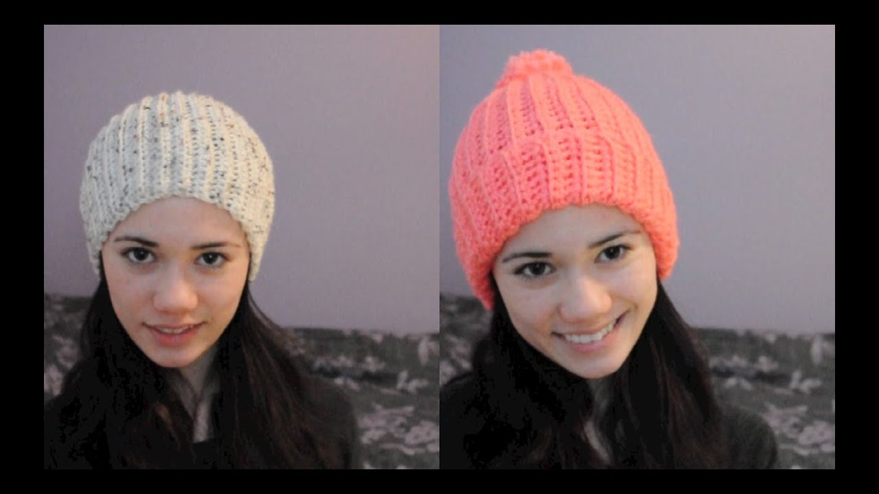 Crochet Hat Patterns Super Easy Ribbed Crocheted Hatbeanie Youtube