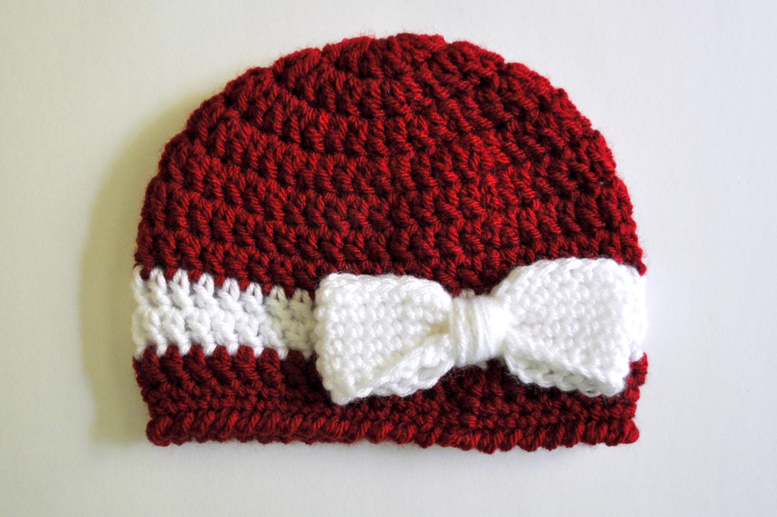 Crochet Infant Hats Free Pattern Free Pattern Crochet Bow And Ribbon Ba Hat Classy Crochet