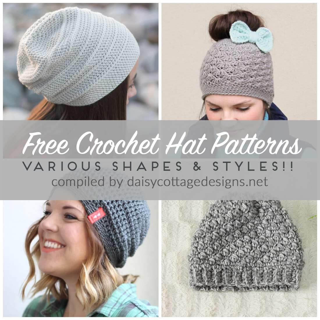Crochet Patterns Free Free Crochet Hat Patterns Daisy Cottage Designs