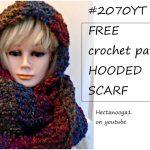 Crochet Scoodie Pattern Free Crochet Pattern 2070 Hooded Scarf Easy Beginner Level