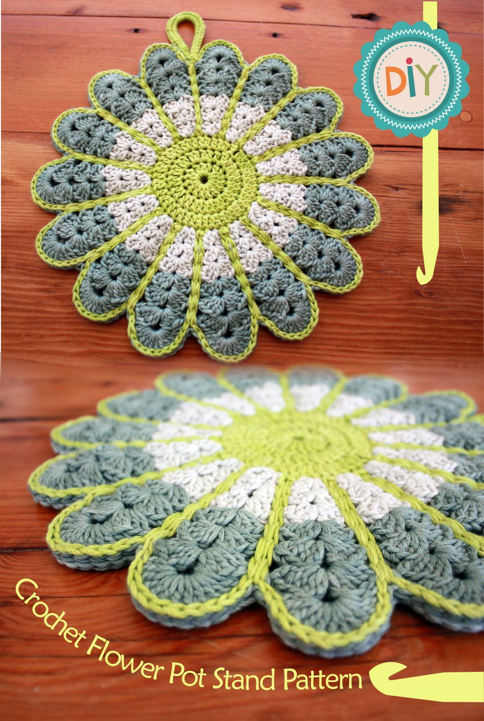 Crochet Trivets Free Pattern Colorful Crochet Flower Pot Holder With Free Pattern Pinterest