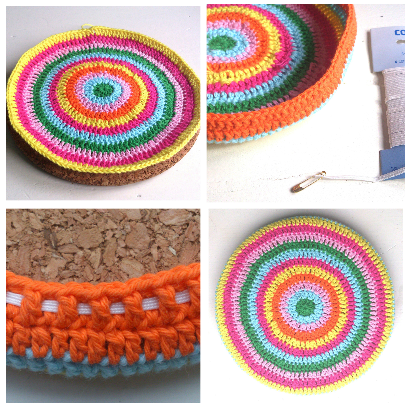 Crochet Trivets Free Pattern Covered Cork Trivet Free Pattern Atty Held In Place With A