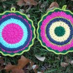 Crochet Trivets Free Pattern Puffy Scrap Yarn Pot Holder Stitch11