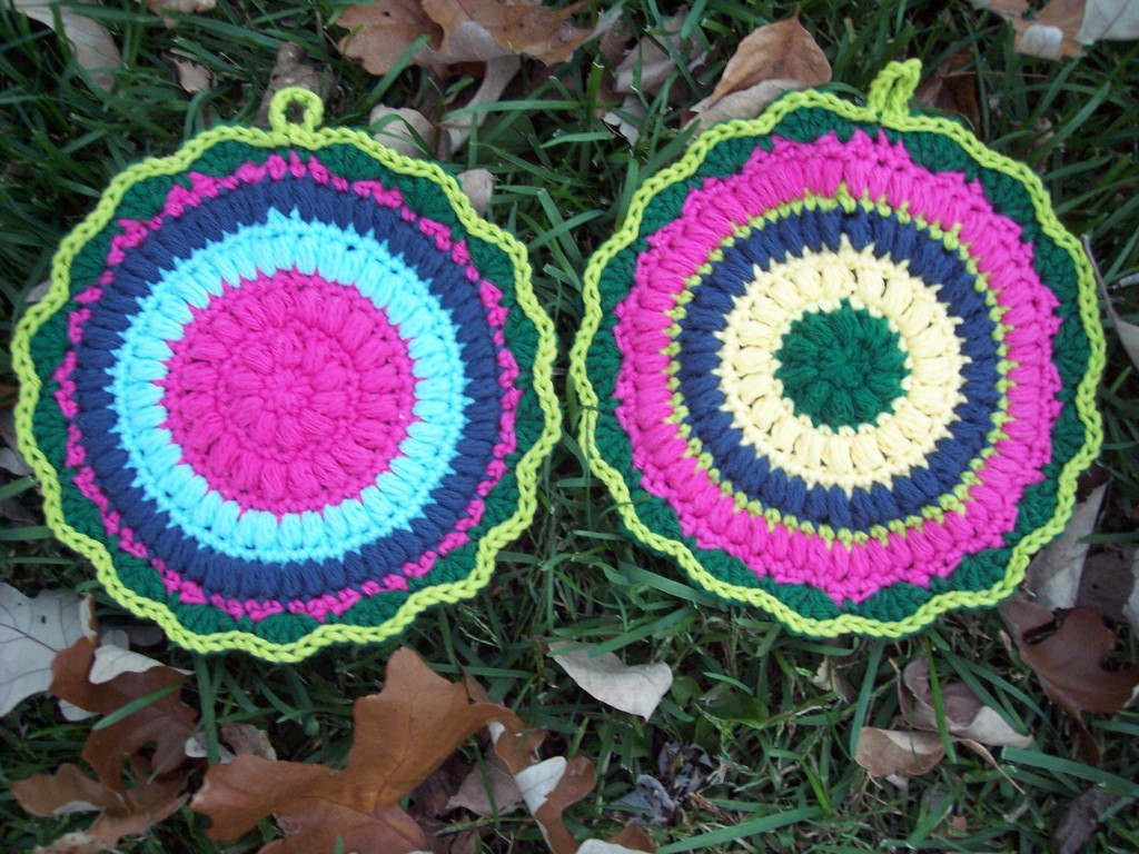 Crochet Trivets Free Pattern Puffy Scrap Yarn Pot Holder Stitch11