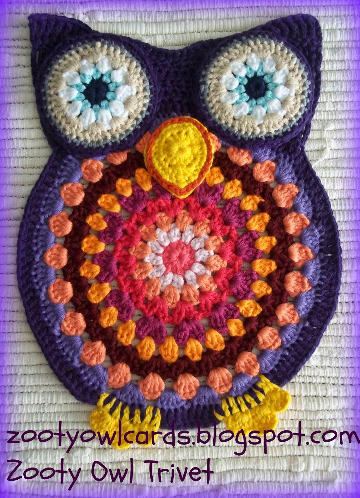 Crochet Trivets Free Pattern Zooty Owls Crafty Blog Zooty Owl Trivets Pattern