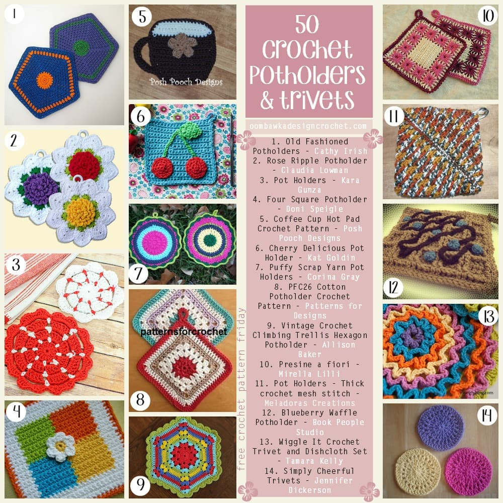 Crochet Trivets Hot Pads 50 Free Crochet Potholders And Trivets Patterns Oombawka Design