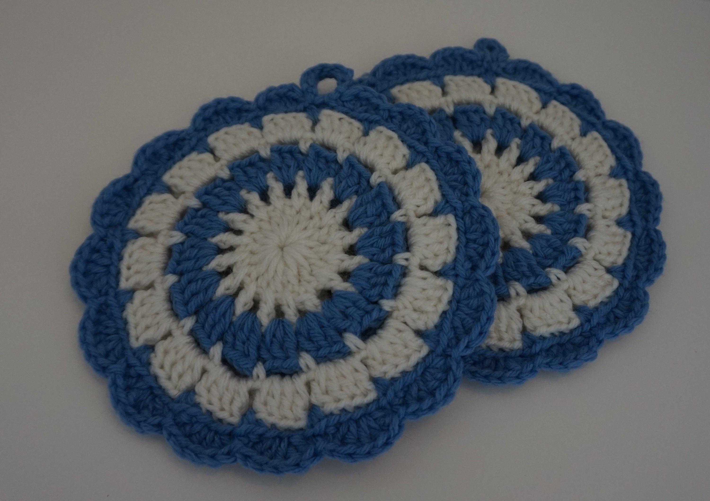 Crochet Trivets Hot Pads Crochet Pot Holder Blue Round Crochet Trivet Crochet Hot Etsy