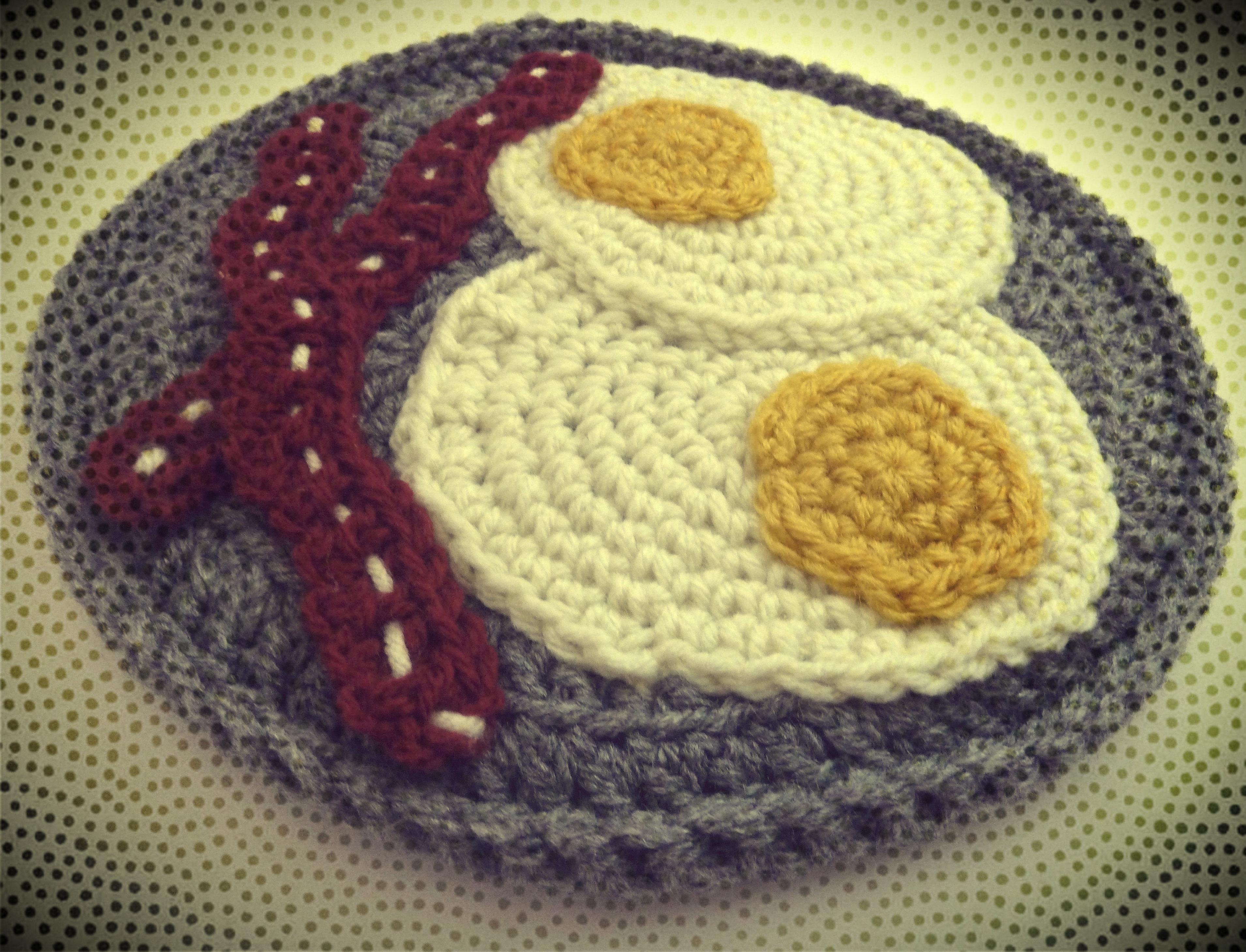 Crochet Trivets Hot Pads Free Eggs Bacon Potholder Crochet Pattern Book People Studio