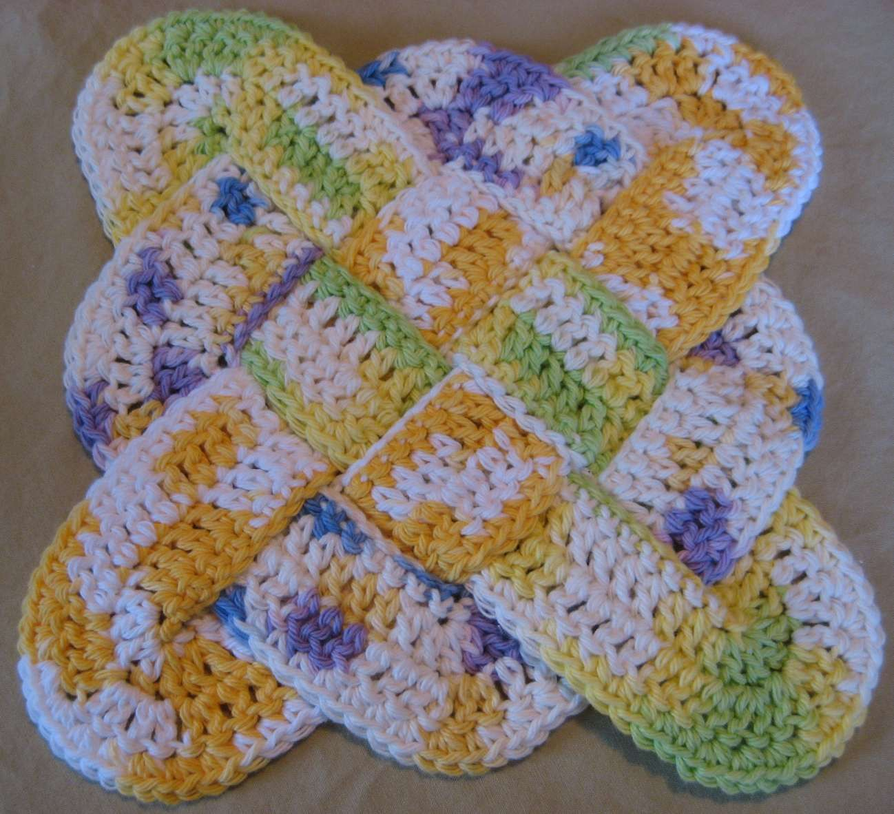 Crochet Trivets Hot Pads Free Pattern Hooked On Needles Crocheted Cotton Pot Holder Trivet Or Hot Pad