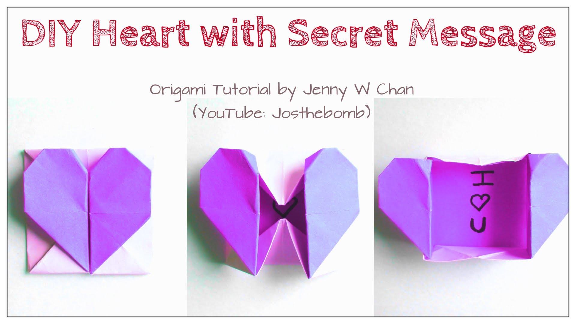 Diy Origami Heart Diy Origami Heart Box Envelope With Secret Message Pop Up Heart