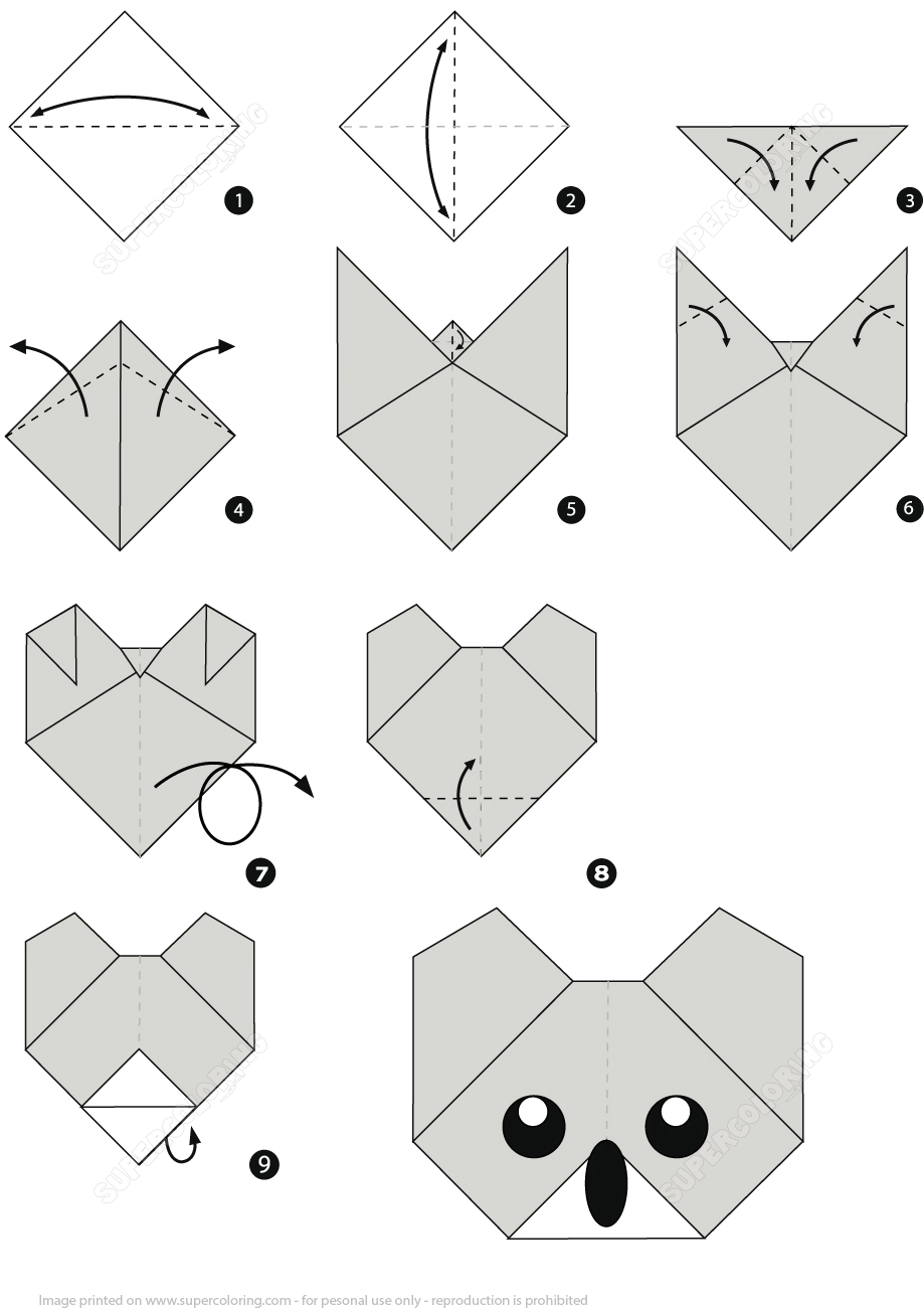 Diy Origami Step By Step How To Make An Origami Koala Face Step Step Instructions Free
