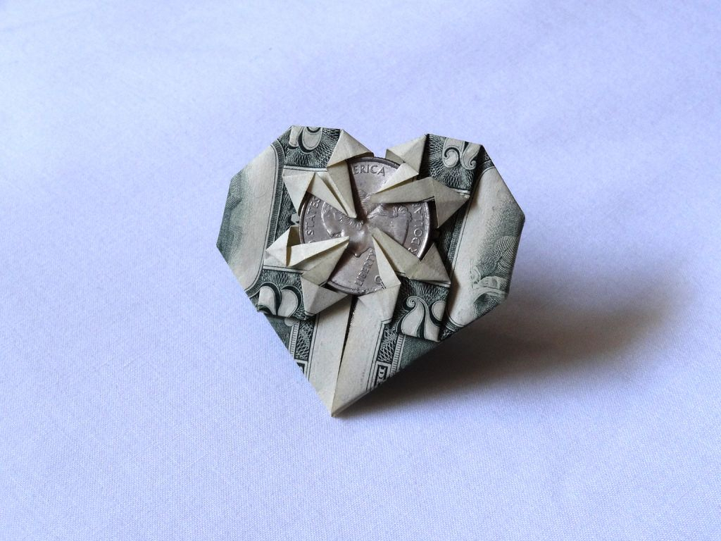 Dollar Bill Origami Dollar Bill Origami Heart 8 Steps With Pictures