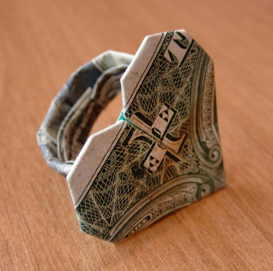 Dollar Bill Origami Dollar Bill Origami Heart Ring Craigfoldsfives On Deviantart