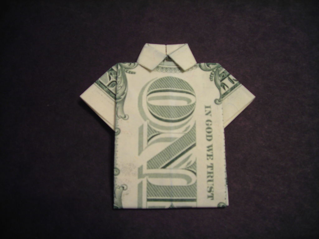 Dollar Bill Origami How To Fold A Dollar Bill Shirt 6 Steps