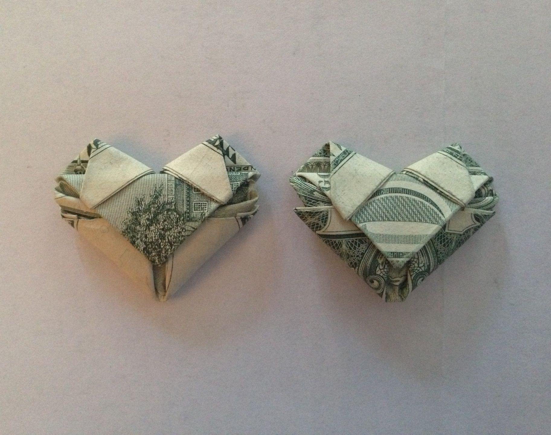 Dollar Bill Origami How To Fold Dollarany Bill Into A Heart Origami Crafts Diy