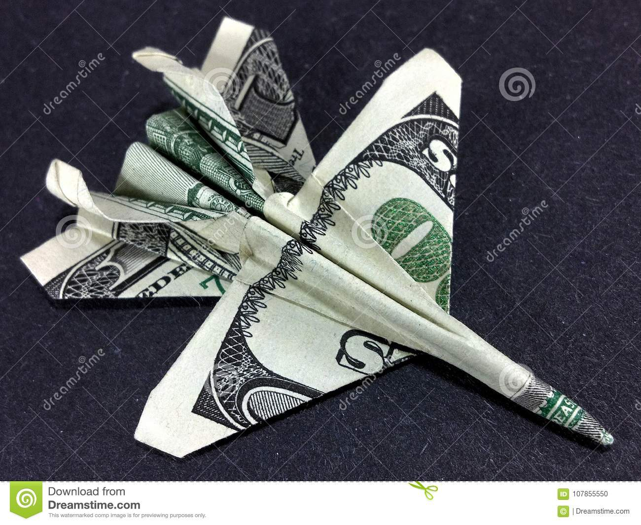 Dollar Bill Origami Money Origami Dollar Jet Fighter Dollar Bill Art Stock Photo