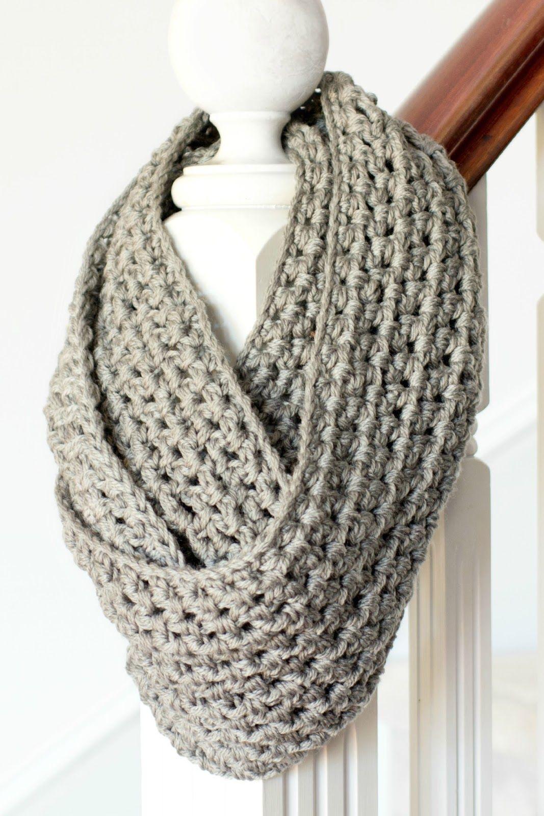 Double Knitting Tutorial Scarfs Basic Chunky Infinity Scarf Crochet Pattern Crochet Scarves