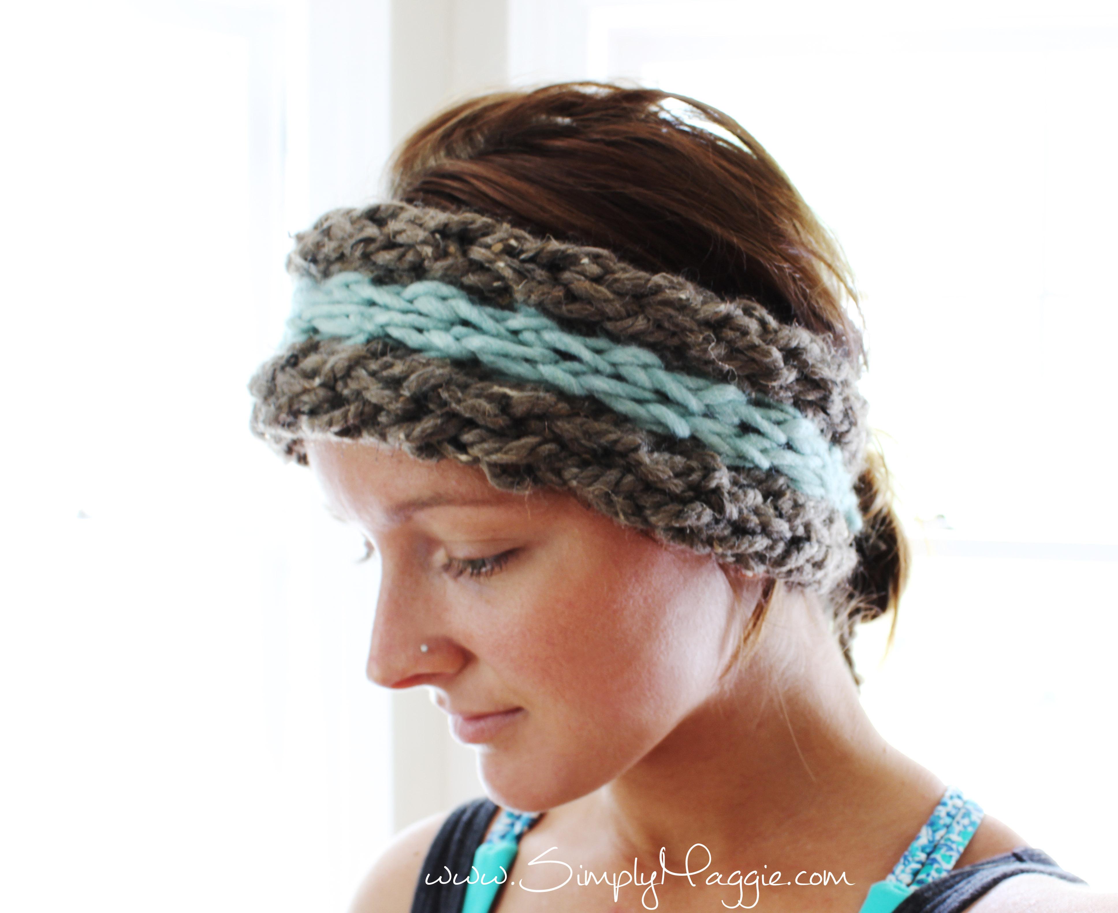 Earwarmer Knitting Patterns Head Bands Diy 15 Minute Finger Knit Ear Warmer Simplymaggie