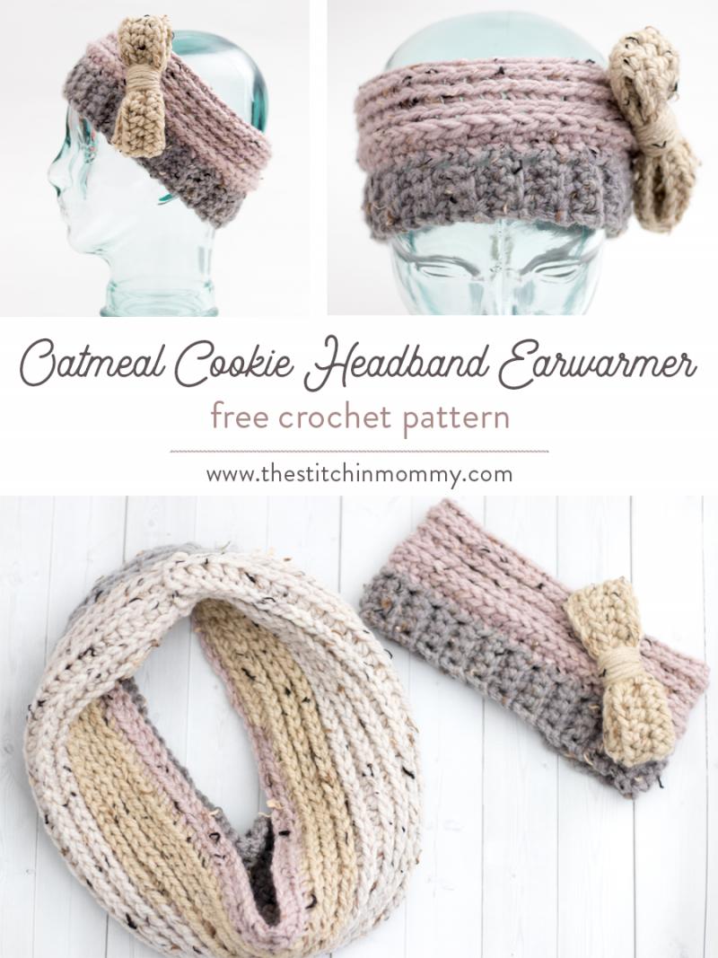 Earwarmer Knitting Patterns Head Bands Oatmeal Cookie Headband Earwarmer Free Crochet Pattern The