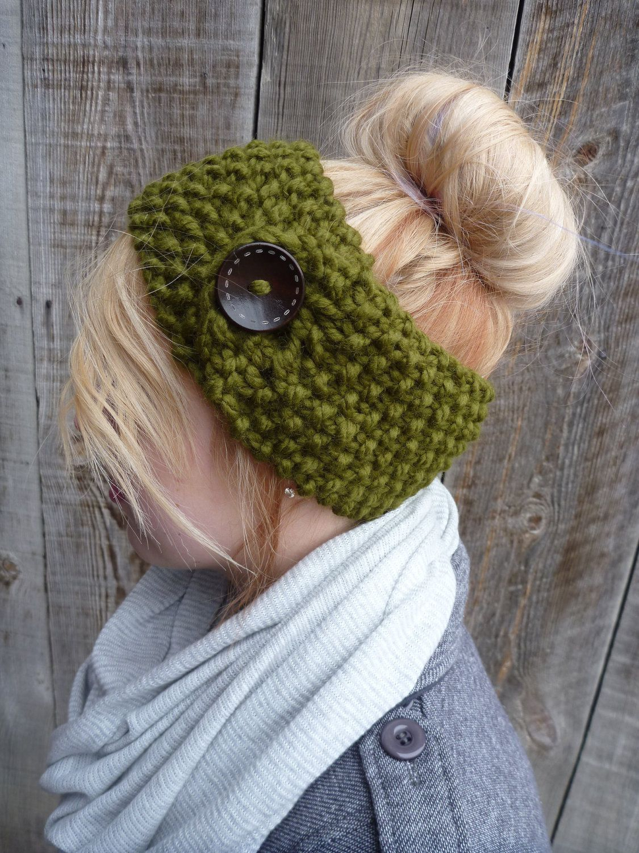 Earwarmer Knitting Patterns Head Bands The Jordyn Headband Ear Warmer In Charcoal With Button Closure