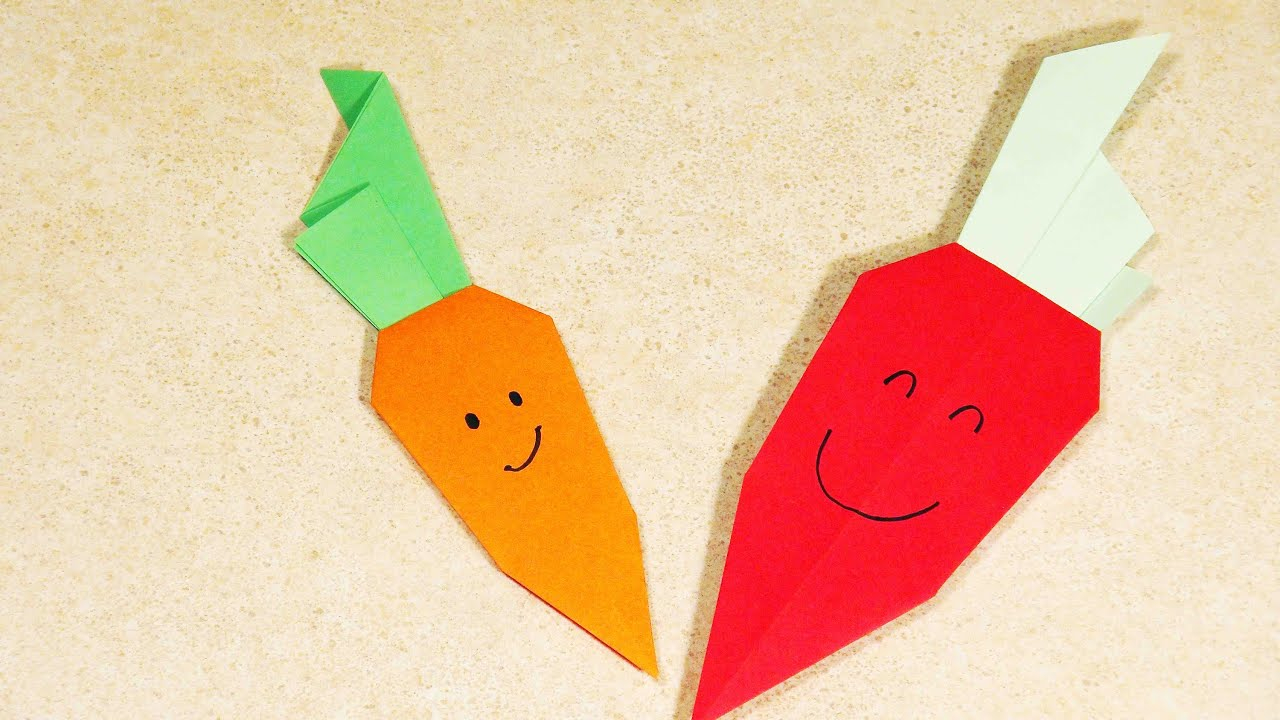 Easy Origami For Kids Paper Crafts For Kids Easy Origami For Kids Origami Carrot Origami