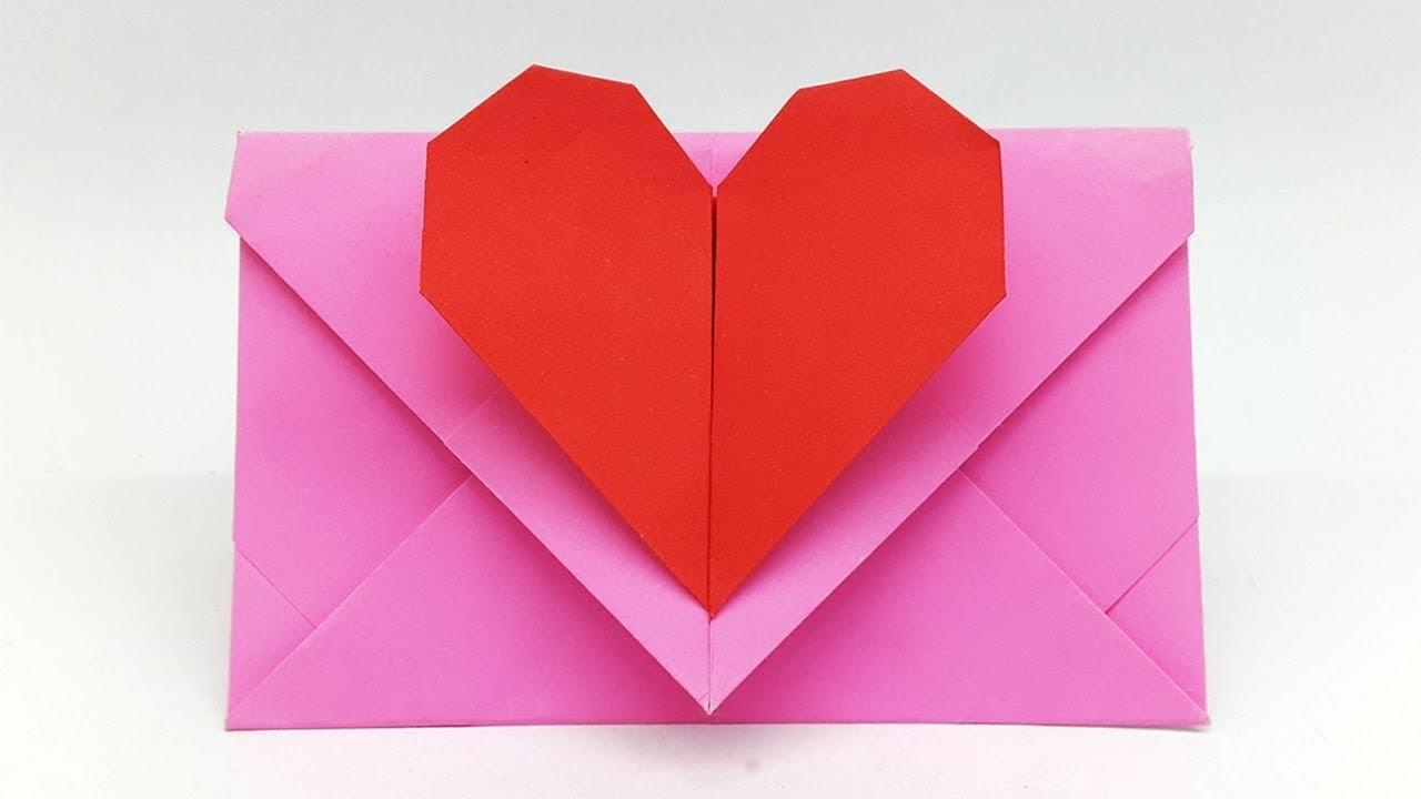 Envelope Origami Easy Heart Envelope Making With Paper Super Easy Origami Envelope Tutorial